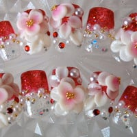 Nail Tips > Medium - Red Gradation With Flowers[M] - Worldwide shipping of Japanese nails, Deco den parts, Nail parts