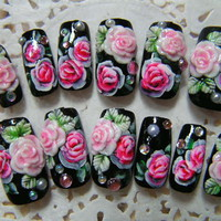 Nail Tips > Medium - ROSE NAIL DIAMANTE BLACK [S] - Worldwide shipping of Japanese nails, Deco den parts, Nail parts