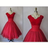 50's Chiffon Dress // Vintage 1950's Red by TheVintageStudio