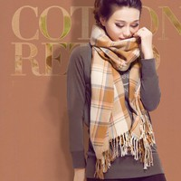 Fashion Pashmina Wool Long Plaid Scarf Shawl Wrap Autumn Winter