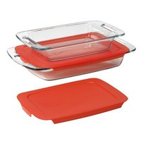 Pyrex  Easy Grab 4-Piece Value Pack, includes 1-ea 3-qt Oblong, 2-qtOblong, Red Plastic Covers | www.deviazon.com