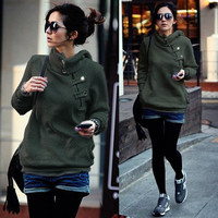 Fashion Womens Classic Hoodie Hoody Casual Solid Oblique Buckle Outwear Tops