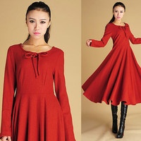 maxi wool dress with keyhole detail (445)