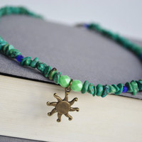 Turquoise Sun Necklace. La Sol Turquoise Stone Chip Necklace. Sunshine Charm Jewelry. Green and Blue Jewelry.