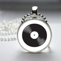 Photo Art Glass Bezel Pendant vinyl Record Dj Music Necklace
