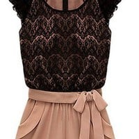 Hot Summer Top Model Women Elegant Lace Chiffon Shoulder Details Jumpsuit