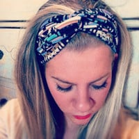 Pastel & Black Tribal - Stretch Twist Headband