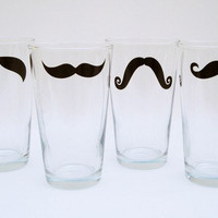 Moustache Pint Glasses Variety of Colors and by modernmadness