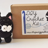 DIY Crochet Kit - Black and White Cat