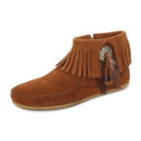 Minnetonka Womens Concho/Feather Side Zip Boot - Brown | www.moccasins.com