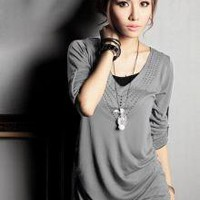 china fashion wholesale online Heart Collar Long Gray T-shirt_XL Items_Wholesale - Wholesale Clothing, Wholesale Shoes, Bags, Jewelry, Wholesale Fashion Apparel &amp; Accessories Online