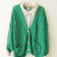 loose batwing Hollow Cardigan Tops Knitwear Sweater Winter