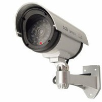 OUTDOOR FAKE / DUMMY SECURITY CAMERA w/ Blinking Light (Silver) | www.deviazon.com