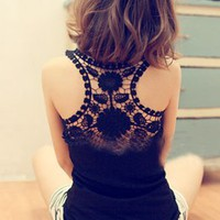 Beautiful Back Hollow Out Lace Girls Vest Black : Wholesaleclothing4u.com