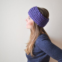 Chunky Knit Headband in Purple - Made to Order