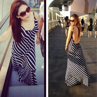 Backless Striped Maxi by Cutieshey Clothing