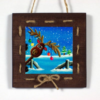 Reindeer Decoration: Handmade Rustic Christmas Door Hanger - Wall Hanging