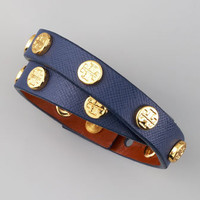 Logo-Studded Saffiano Wrap Bracelet, Navy - Bergdorf Goodman
