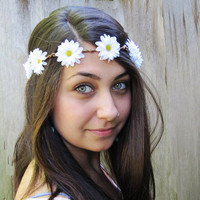 Daisy Chain Flower Crown - Daisy Headband, White Daisy Hair Wreath, Hippie Headband, Daisy Crown, Teen Gift Idea, Gift Under 30