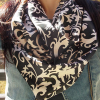 Silky black and white floral scarf