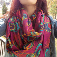 pink peacock feather scarf