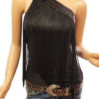 Patty Women Sequins One Shoulder Fringe Tops (Black S)