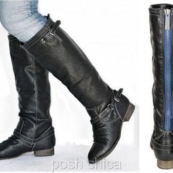 New Womens BO81 Blue Zipper Black Buckle Riding Knee High Boots Sz 5.5 to 11