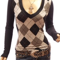Patty Women Smart V Neck Checkers Long Sleeve Knit Top (Grey Medium)