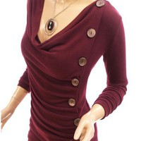 Patty Women Cowl Neck Button Embellished Ruched Blouse Top (Burgundy L)