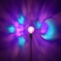 The ORIGINAL Hand-Painted Purple Moon &amp; Stars Mood-Light Bulb 4 Color Therapy, Night Lights, Parties, Mood Lighting