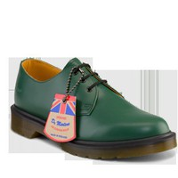 Dr Martens 1461 MADE IN ENGLAND GREEN SMOOTH - Doc Martens Boots and Shoes