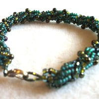 Beaded Bracelet  - Textural Hunter Green to Yellow Green