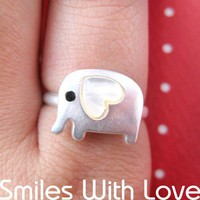 Adjustable Elephant Ring in Silver with Heart Shaped Ears | smileswithlove ArtFire Gallery