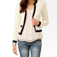 Essential Contrast Multi-Knit Cardigan