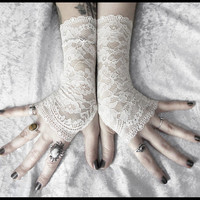 Patience Lace Fingerless Gloves - Off White Pale Ivory Floral - Wedding Gothic Regency Tribal Bellydance Goth Austen Bridal Fetish Gypsy