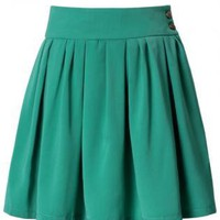 Green High Waist Skirt with Button Side Closure&amp;Pleat Detail
