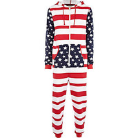Mens Red stars and stripes print Onesuit