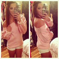 Studded Light Pink Off the Shoulder Sweatshirt Sz. Medium