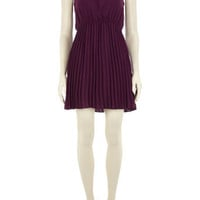 Purple bead detail pleat dress - Fit & Flare Dresses  - Dresses