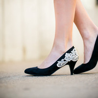 Black Heels - Black Pumps/Black Kitten Heel with Ivory Lace. US Size 8