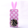 Cute Pink 3D Wave Point design Rabbit Ear and Leopard Tail Silicone Case for Iphone 4/4s/5 by bestgoods