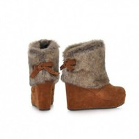 Buy Sweet Fuzzy Warm Bowknot Back Wedge High Heel Boots Khaki with cheapest price|wholesale-dress.net