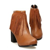 Buy Individual Tassels Embellished Inner Fuzzy Wood Heel Boot Brown with cheapest price|wholesale-dress.net