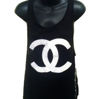 Chanel  Logo Womens Burnout Tank in Black Size Large