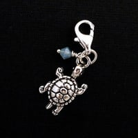 Turtle Charm Antiqued Silver Clip On