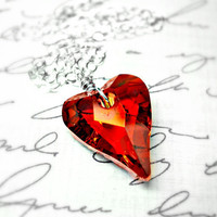 Red Heart Necklace Swarovski Crystal Sterling by ClassicKeepsakes