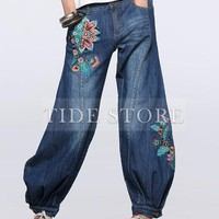 Nations Series Embroidery Wide Leg Denim Pants: tidestore.com