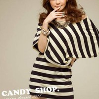 classic style black and white strip cotton dresses  : Wholesaleclothing4u.com