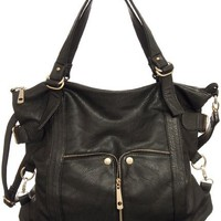 Black Large ''Waverly'' Cross-body Convertible Tote