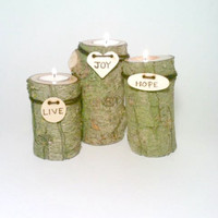 Log Candle Centerpiece, Log Candle Holders, Wedding Centerpiece, Rustic Wedding Decor, Centerpiece